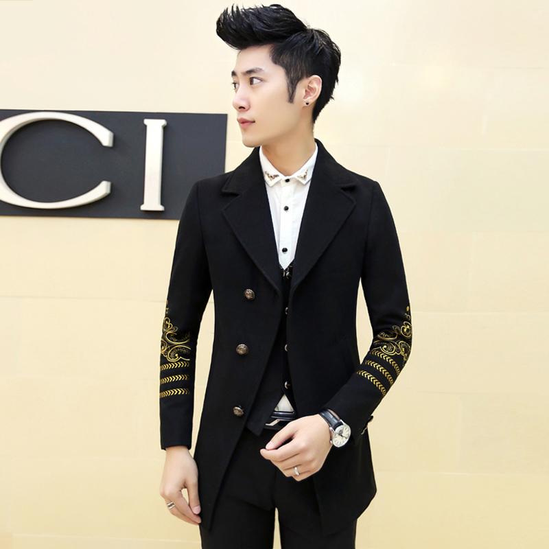 Фотография Boys Clothing Embroidery Arm Latest Design Mid-Long Jacket Winter Thick Korean Trench Coat Prom Dress Costume Slim Fit Blazer
