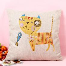 Cartoon Cat with Fish Print Cotton Linen Pillow Case