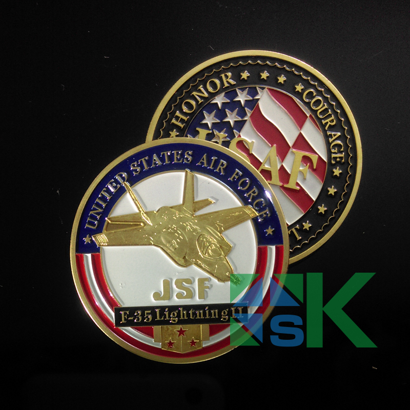 United States Air Force USAF Challenge Coin F -35 JET Finished In Gold .999 Plated 50pcs/Lot(China (Mainland))