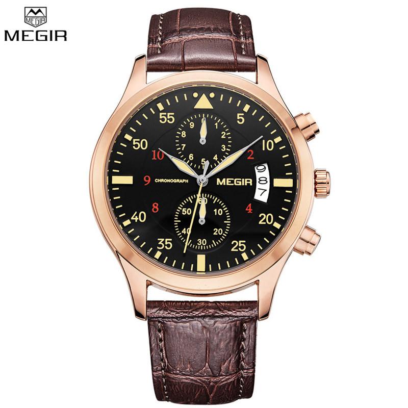 MEGIR Шарм Мужчины Хронограф Кварцевые Часы Военные Спорт На Открытом Воздухе мужские Часы Кожаные Ремни Авто Дата Наручные Часы Relojes