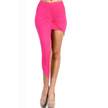 2015 Hot Selling Asymmetrical Solid High Low Wrapped Elastic Waist Draped Cut Out Skirt Adult Girls Sexy Wrap Skirt 2 Colors