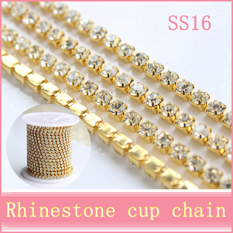 10 yards/roll bright strass gold base densify claw SS16(3.8-4.0mm) crystal rhinestone cup chain for bags design(China (Mainland))
