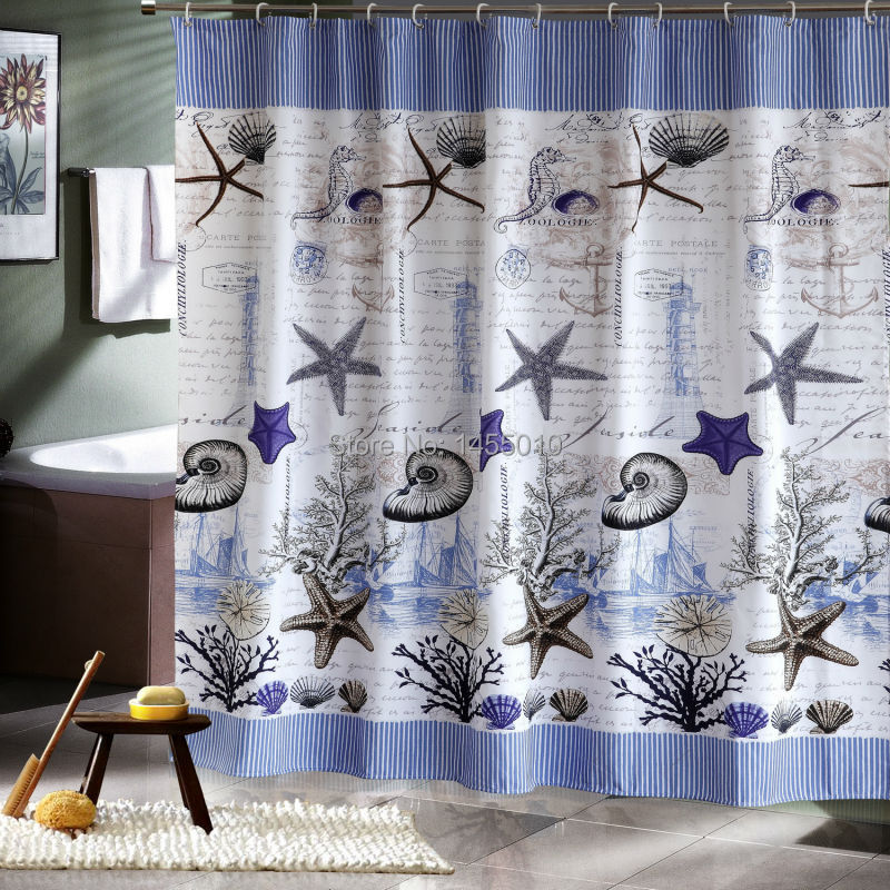 Polyester terylene blue sea life waterproof shower curtain thicken shower curtain bathroom curtains,(China (Mainland))