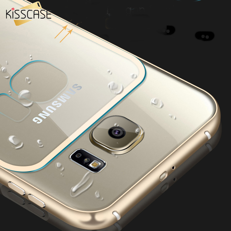KISSCASE S6 S7 Edge Luxury Hybrid Metal Aluminum Frame +Clear Plastic Back Case For Samsung S6 Edge S7 Edge Ultra Thin Cover(China (Mainland))