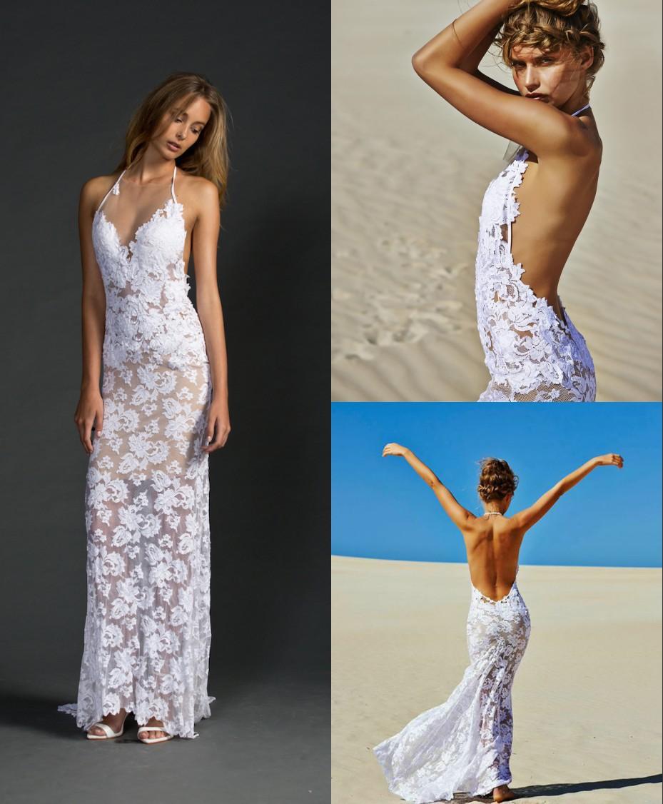 Turmec halter beach wedding dresses for bride for Simple wedding dress beach ceremony