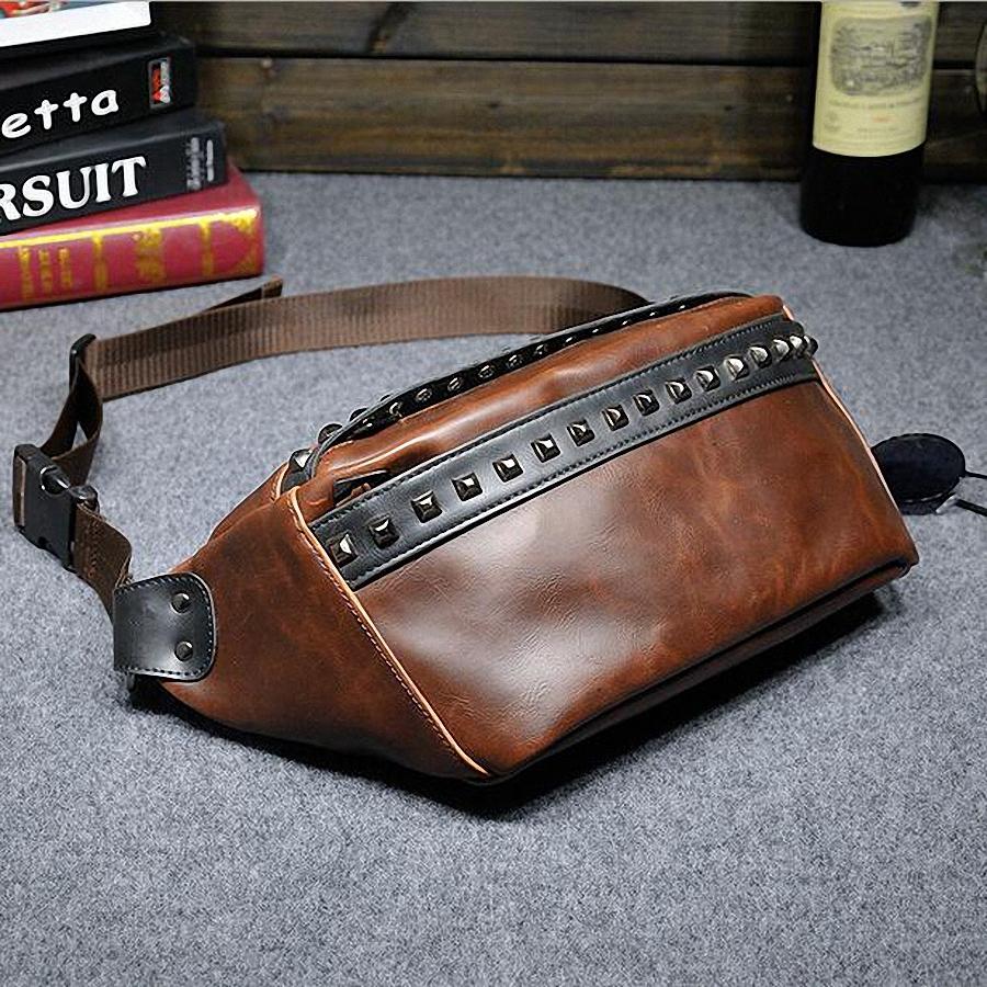 Vintage bolsas leather rivets waist pack Fashion man small travel sports waist wallet bags for men outdoor sports bags LI-597<br><br>Aliexpress