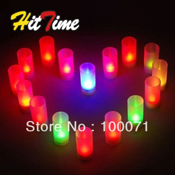 Beautiful LED Electronic Candlelight Wedding Party Candle 7 Color Change Flicker Sensor # 604