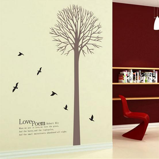 Love poem tree and birds Minimalist style wallpaper Wall Decals /PVC Removable Art Home Wall Stickers/Room Wall Decor AY802