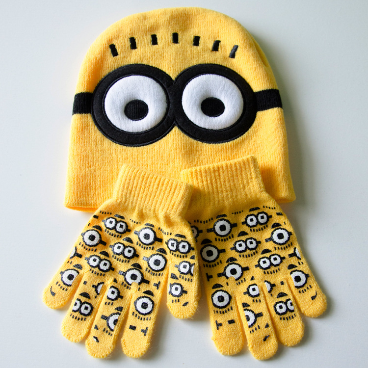 2016 baby boys winter knitted hat and gloves Children Dave cartoon minions childrens cap set child crochet patterns(China (Mainland))