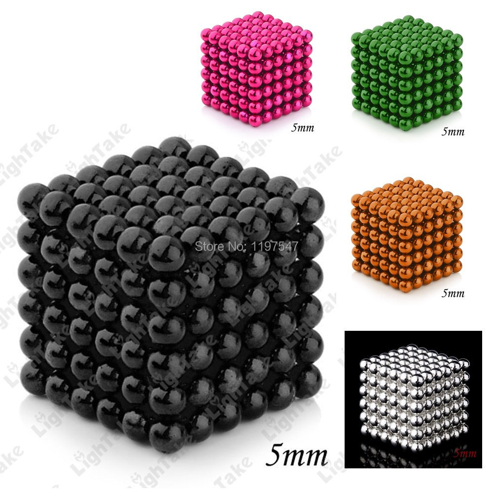 216Pcs 5mm Magnetic Balls Cube neocube Magnet Spheres 5 Color(China (Mainland))
