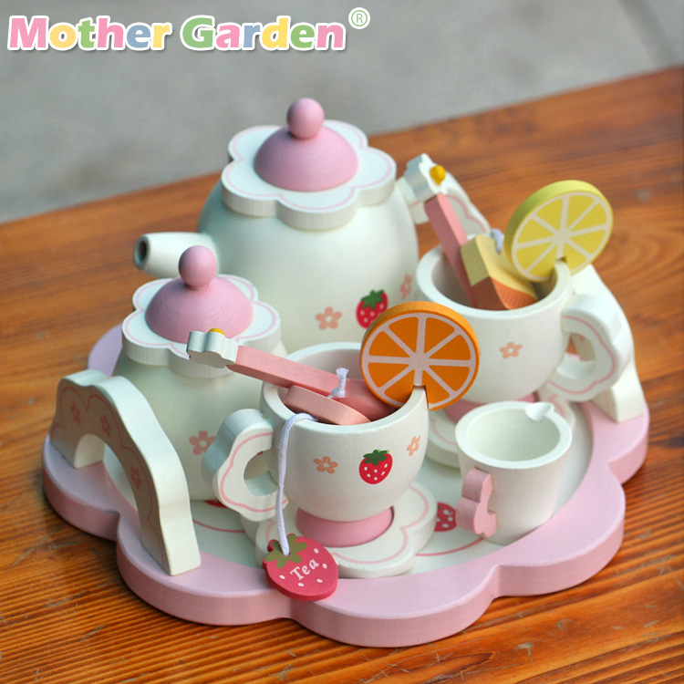 New 2015 Baby Toy Learning & Education Mother Simulation Wooden Tea Garden Strawberry Children Play Kitchen Toys(China (Mainland))