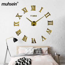 Buy 2016 New fashion 3D big size wall clock mirror sticker DIY wall clocks home decoration wall clock meetting room wall clock for $11.33 in AliExpress store