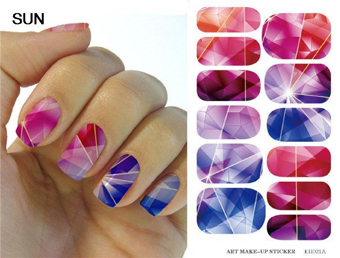 Water Transfer Foil Nails Art Sticker Colored Bright Crystal Design Nail Sticker Manicure Decor Tools Nail Wraps Decals Patch(China (Mainland))
