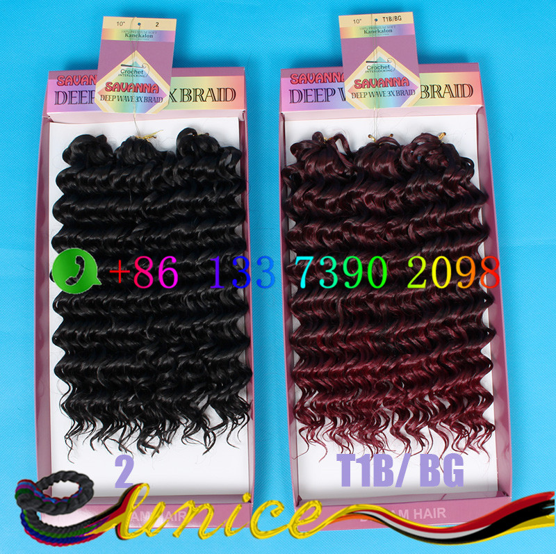 10'' freetress deep wave hair extension ombre burgundy 3X hair style crochet synthetic India hair weaving curly hairstyle locs(China (Mainland))