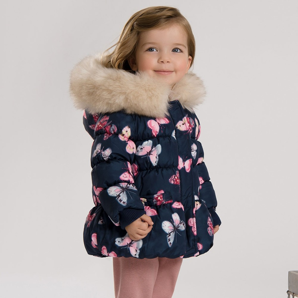 DB3387 dave bella winter baby girls butterfly printed jacket girls padded coat navy outerwear girls fashion parkas