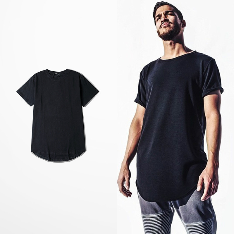 2016 Summer Style Solid Color Basic Circular Arc Sweep Ultra Long Short-sleeve Tee T-shirt Men Women Loose Top - Jimmy Show Store store