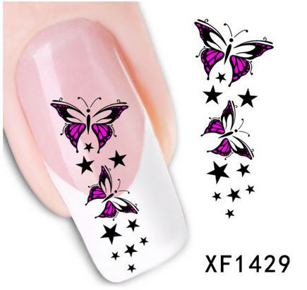 2015 Brand new Nail art Stickers 1 sheet butterfly 3D Design Tip nail Art Decal Tools safe use natual false nails Xf1429 - GREEN SHINE STORE store