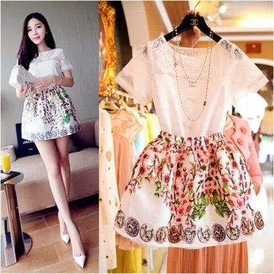 2015 девушки одежда комплект кружева футболка + вышивка юбка 2 шт. подросток одежды костюм одежда больших девочек комплект мода подросток