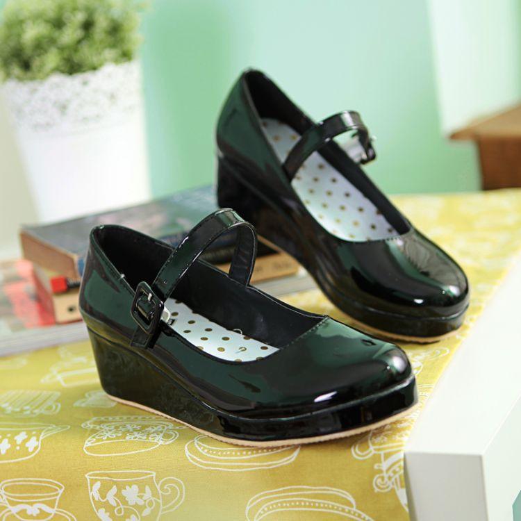 LIN REY Danganronpa Chiaki Nanami Anime Cosplay Zapatos Lolita Dulce la cuña de la señora Zapatos de Punta Redonda Hebilla de Bombas de Las Mujeres Más Tamaño 43