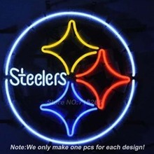 Steelers Football Neon Light Sign Real Glass Tube Handcraft Neon Bulbs Beer Pub Recreation Room Garage Wall Sign  VD 17x14(China (Mainland))