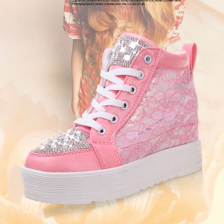 2015 spring and autumn white gauze sneakers lace elevator casual shoes with diamond women's high-top height increasing shoes