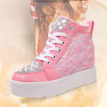 2016 spring and autumn white gauze shoes lace elevator casual shoes with diamond women's high-top height increasing shoes
