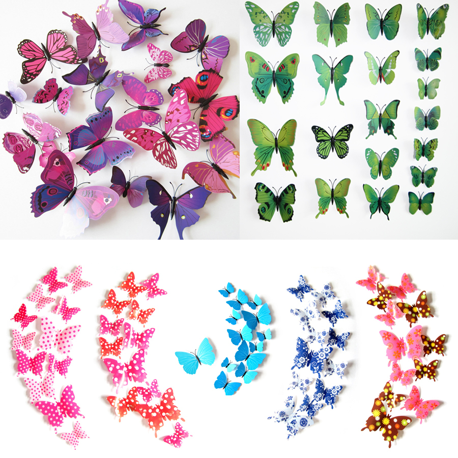 2015 Fashion Cute 12pcs Pvc 3d Butterfly Wall Sticker