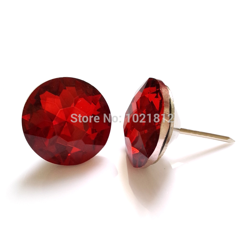 20pcs 25mm Glass Sofa Button Nail Sofa Decor Headboard Wall Decor Red Gem Shiny Upholstery Furniture Accessories(China (Mainland))