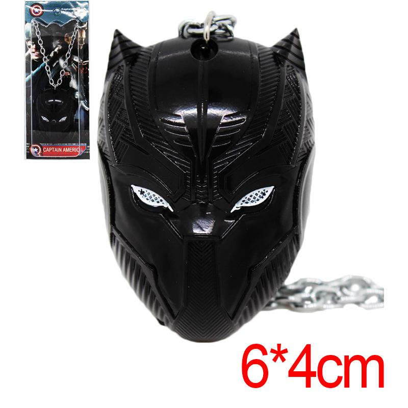 Marvel Movie Captain America Mask Black Panther T'Challa Mask Alloy Keychain Metal Pendant Necklace Sliver/Black Color(China (Mainland))
