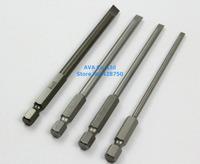 "1 Set 4 Pieces Magnetic Slotted Screwdriver Bit Set 1/4"" Hex Shank 100mm Long 3mm / 4mm / 5mm / 6mm Flathead Screwdriver Bit Set"