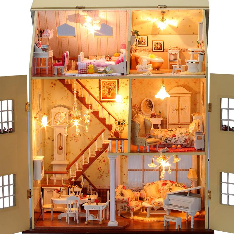Diy Large Doll House Years Fairy Tale Handmade Villa 3D Miniature Wooden Building Model Houses Furniture Toys Of Birthday Gift(China (Mainland))