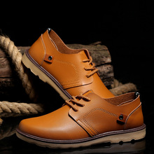 spring autumn new fashion men leather shoes casual breathable flats adult male Oxfords sneakers size 39