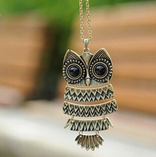 Retro Jewelry Vintage Ancient Bronze Big Eyes Owl Necklace Kitty Cat Pendant Statement Long Chain Choker Gift(China (Mainland))