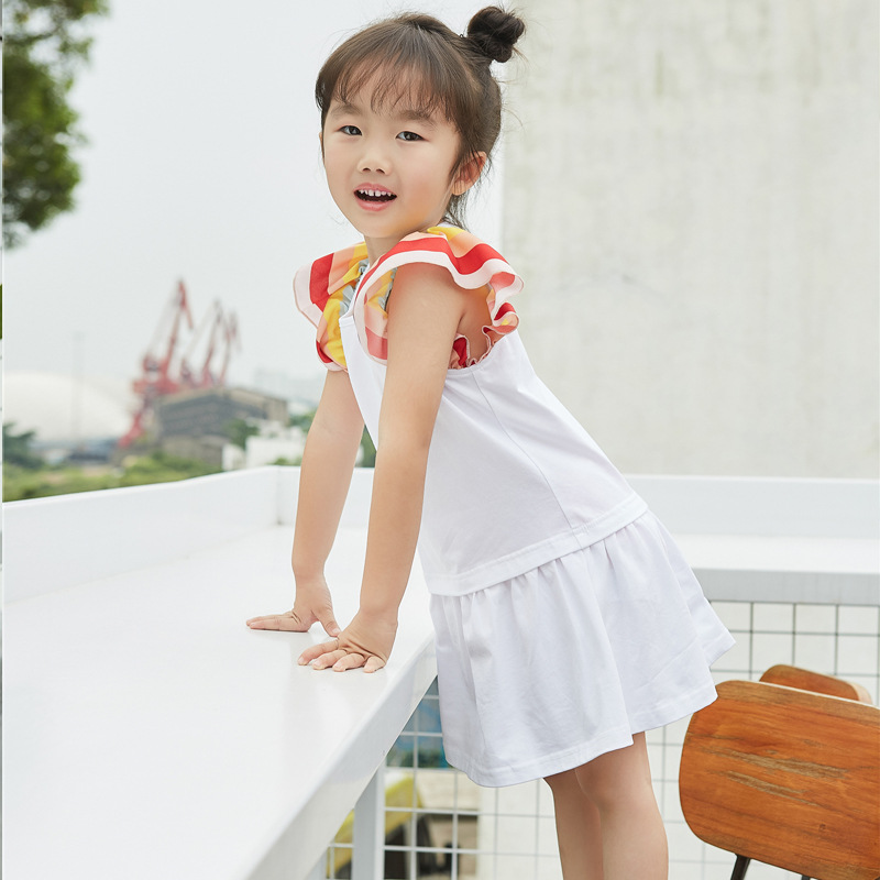 New Mother and Daughter Summer Girls Dress Kids Cotton Rainbow Trumpet Sleeve White Color Dresses for Baby Loose Clothing(China (Mainland))