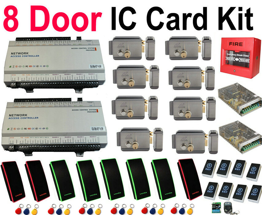 Free Shipping 8 Door IP Control Full Kit Door Access ControllerPanelWeb Board+8pc ICCard Readers+8pcsMachinery Lock+8pcsExit+rem(China (Mainland))