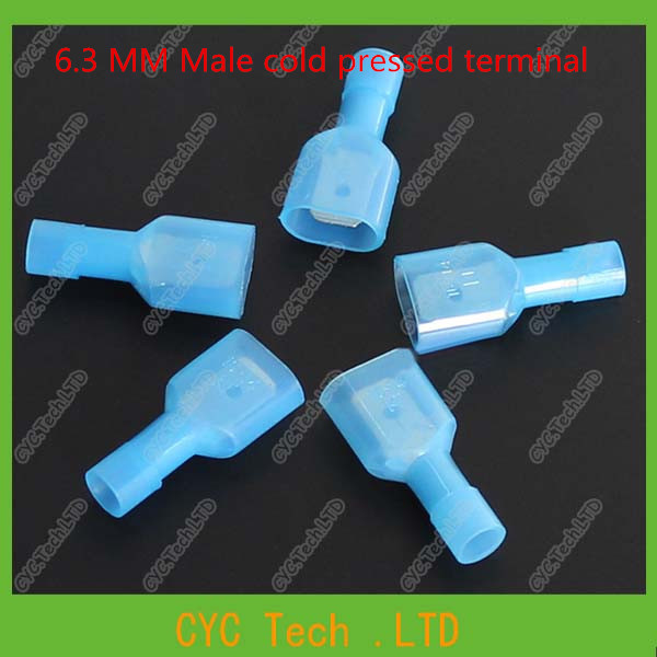 50pcs 6.3 MM Male cold pressed terminal with sheath , automotive Crimp terminal, wire terminal(China (Mainland))
