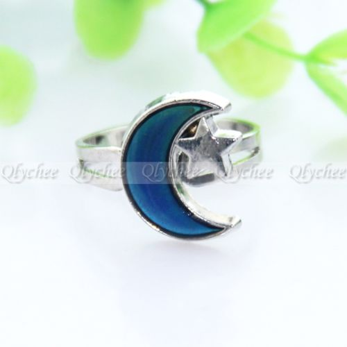 New 2014 Women's Summer Fashion Jewelry Moon and Star Shape Color Change Mood Ring Emotion Feeling Changeable Band Adjustable(China (Mainland))