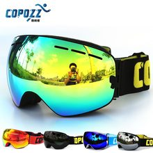 New COPOZZ brand professional ski goggles double lens anti-fog UV400 big ski glasses skiing snowboard men women snow goggles(China (Mainland))