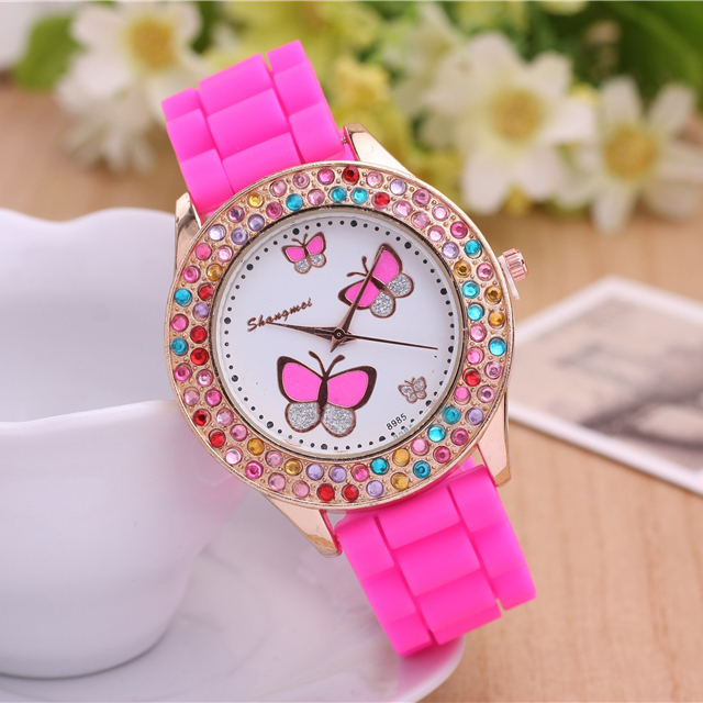 Ms 2015 new quartz watch, colorful beautiful watch, silicone strap butterfly pattern, outdoor leisure fashion watches,(China (Mainland))