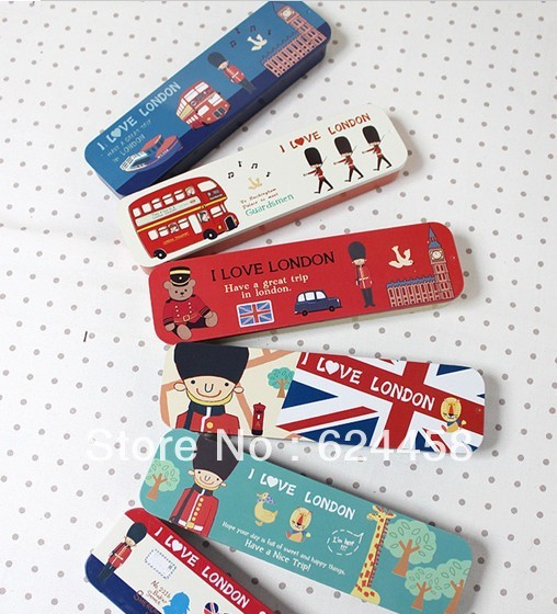 Free shipping stationery london series tin pencil box/pencil case 10pcs/lot