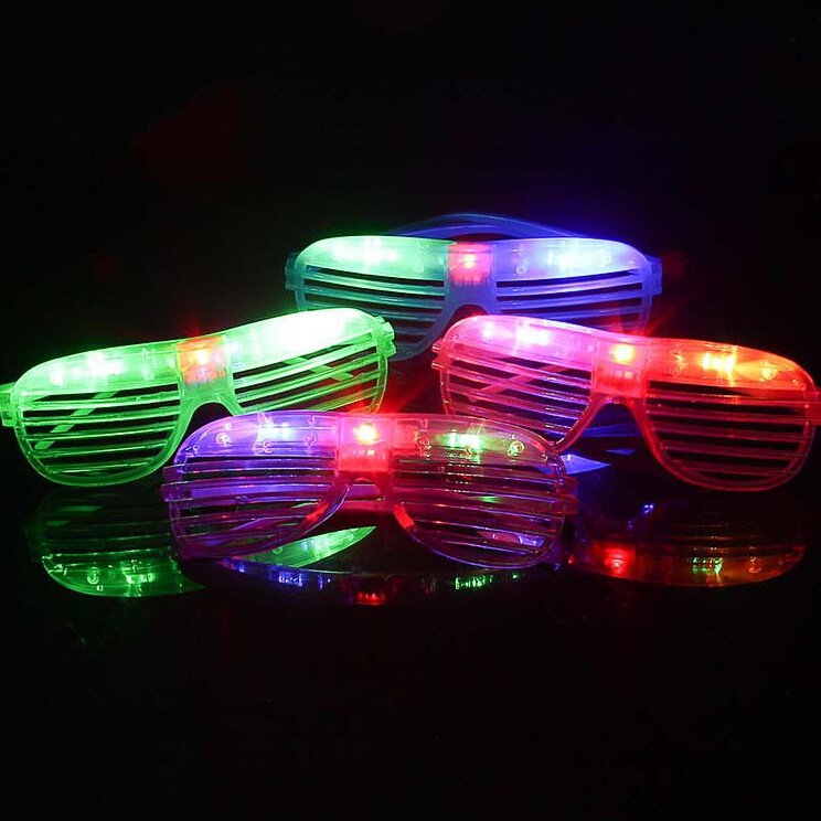 Free Shipping Decoration Get Together Colorful Luminous Led Glasses Neon Supplies Louver Window Christmas Party Decoration(China (Mainland))