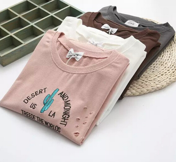 long sleeve o-neck Embroidery Cactus Holes  t-shirtОдежда и ак�е��уары<br><br><br>Aliexpress