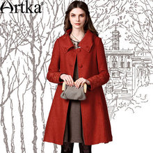Artka Women'S Autumn Winter Vintage Turn Down Collar Long Embridery Sleeve Single Breasted Midi Pattern Wool Coat FA10240Q Ivy