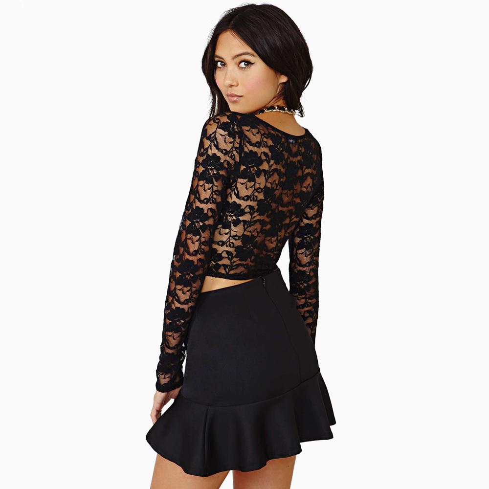 Мода   женщины урожай лучших искусственная кожа лоскутная цветочные кружева с длинным рукавом с коротким футболки женская одежда camisetas черный