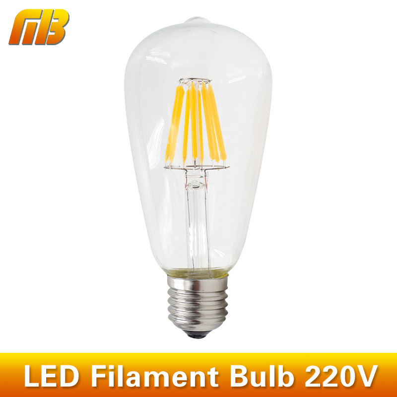 Retro LED Filament Light Bulb ST64 E27 220V Dimmable 4W 6W 8W 10W 12W Smart IC Driver No Flicker Low Heat Replace Edison Bulb(China (Mainland))