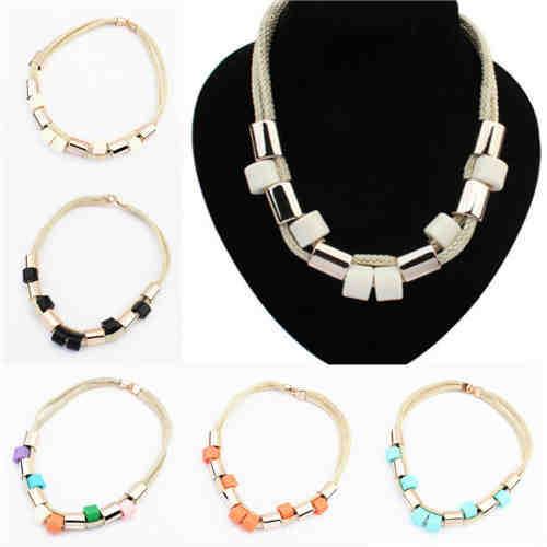 Hew fashion trend joker bib thick crystal pendant chain statement rope long necklace Pendant Chain Choker Bib Statement Necklace(China (Mainland))