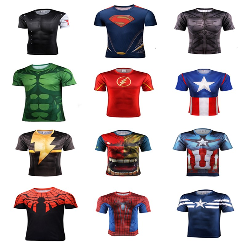 3d t shirt High quality 2016 new superhero batman superman shirt quick dry 3 d fitness compressed dry T-shirt men's style(China (Mainland))