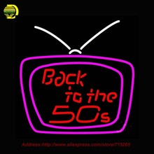 Back To The 50s Television Outdoor Neon Sign Neon Bulb Handcrafted Glass Tube Affiche Light Outdoor Neon Retro Display 24x24(China (Mainland))