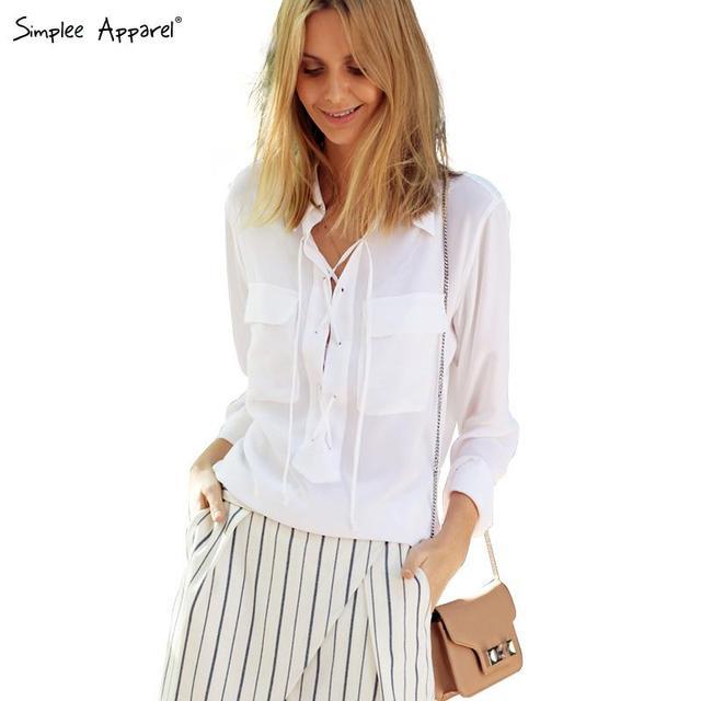 Simplee Apparel Sexy v neck Кружево up Белый Шифон blouse shirt Женщины Верхs chic ...