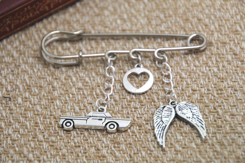12pcs Supernatural inspired Destiel themed charm font b kilt b font pin brooch 38mm